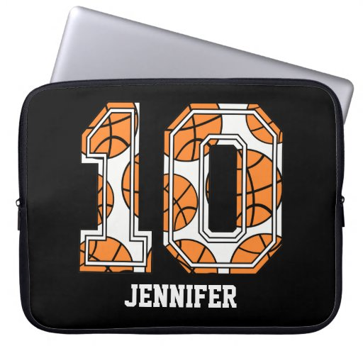 Personalized Basketball Number 10 Laptop Computer Sleeve ...