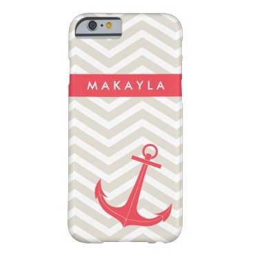 Personalized Beige Chevron and Hot Pink Anchor Barely There iPhone 6 Case