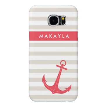 Personalized Beige Stripes and Hot Pink Anchor Samsung Galaxy S6 Case