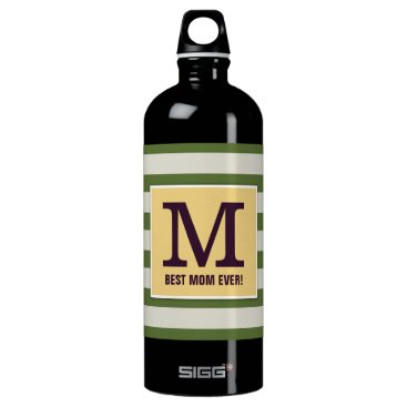 Personalized Best Mom Ever with Striped Patterns Water Bottle