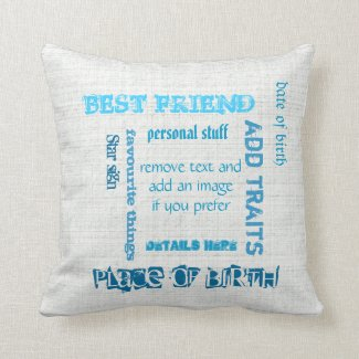 Personalized BFF best friends wordcloud chalkboard Pillows
