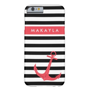 Personalized Black Stripes with Hot Pink Anchor Barely There iPhone 6 Case