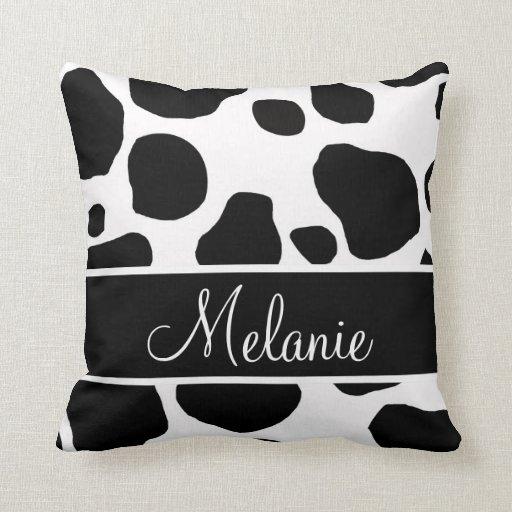 Personalized Black White Cow Spots Pillow