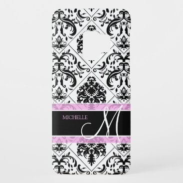 Personalized Black & White Damask with Monogram Case-Mate Samsung Galaxy S9 Case