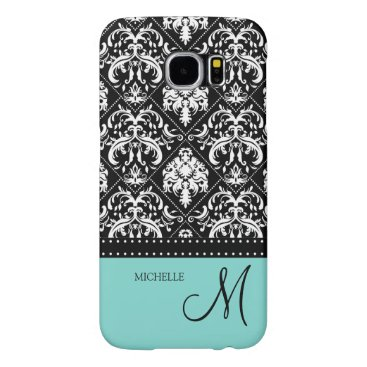 Personalized black & white damask with teal blue samsung galaxy s6 case