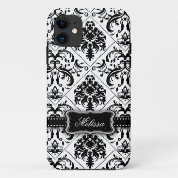 Personalized Black & White Vintage Damask pattern iPhone 11 Case