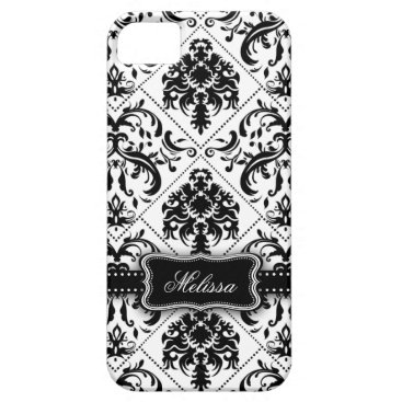 Personalized Black & White Vintage Damask pattern iPhone SE/5/5s Case