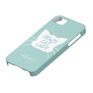 Personalized Crazy Cat Lady in Wavecrest blue iPhone SE/5/5s Case