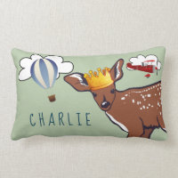 Personalized Crowned Fawn Throw Pillow