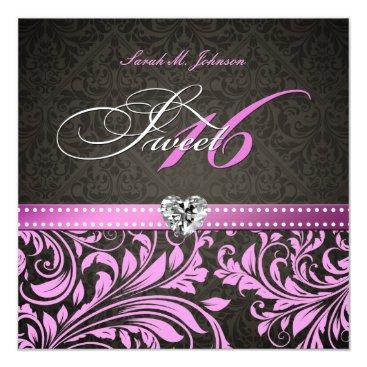 Personalized Elegant Pink & Black Damask Sweet 16 Card