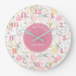 Personalized Family Name Pastel Colorful Floral Large Clock