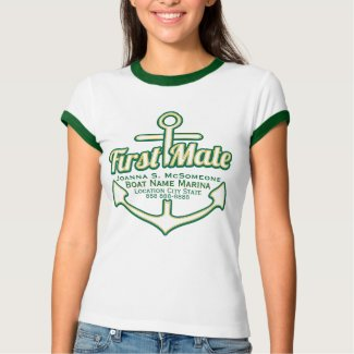 Personalized First Mate Anchor Nautical Tee Shirt
