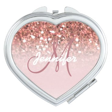Personalized Girly Rose Gold Glitter Sparkles Name Compact Mirror