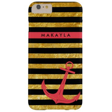 Personalized Gold Glitter Stripes with Pink Anchor Barely There iPhone 6 Plus Case