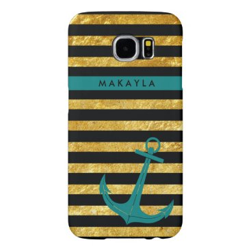 Personalized Gold Glitter Stripes with Teal Anchor Samsung Galaxy S6 Case