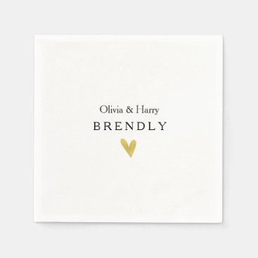 Personalized Gold Heart Wedding Paper Napkins