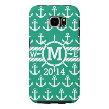 Personalized Green Nautical Anchors Pattern Samsung Galaxy S6 Case