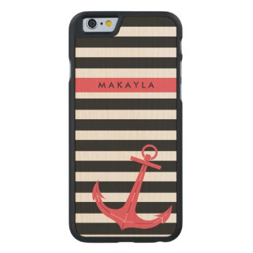 Personalized grey & black Stripes with Pink Anchor Carved Maple iPhone 6 Case