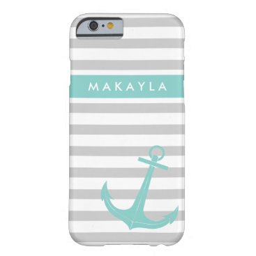 Personalized Grey Stripes and riptide blue Anchor Barely There iPhone 6 Case