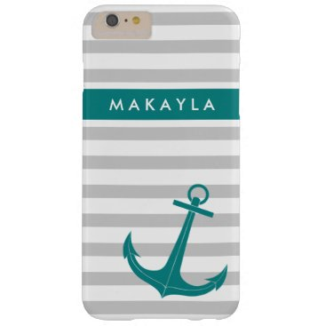 Personalized Grey Stripes and Teal Blue Anchor Barely There iPhone 6 Plus Case