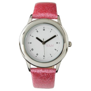 Personalized his and her pink initials wristwatch