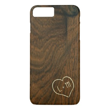 Personalized initials mahogany wood grain texture iPhone 8 plus/7 plus case