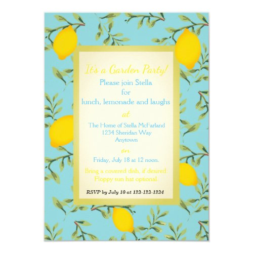 Personalized Lemon Tree Garden Party Invitations