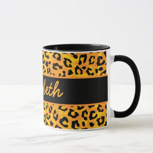 Personalized Leopard Print Mug