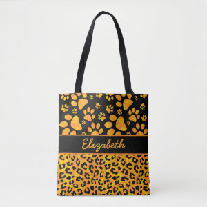 Personalized Leopard Print Tote Bag