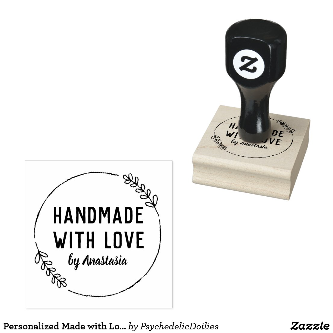Custom handmade with love rubber stamp