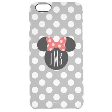 Personalized Minnie Polka Dot Head Silhouette Clear iPhone 6 Plus Case