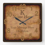 Personalized Monogram Vintage Clock 3 Text Boxes