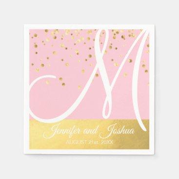 Personalized Monogrammed Blush Pink Gold Wedding Paper Napkin