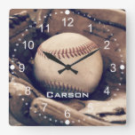 Personalized Name Baseball in Glove Wall Clock