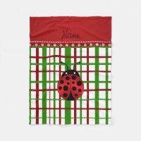 Personalized name ladybug christmas plaid fleece blanket