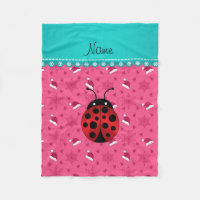 Personalized name ladybug pink santa hats fleece blanket