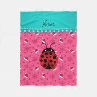 Personalized name ladybug pink santa hats fleece blanket