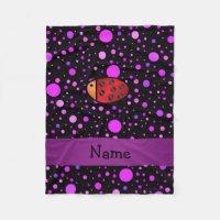 Personalized name ladybug purple polka dots fleece blanket