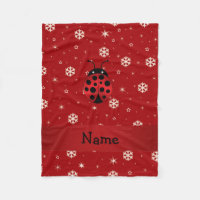 Personalized name ladybug red snowflakes fleece blanket