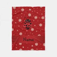 Personalized name ladybug red snowflakes fleece blanket