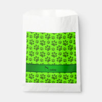 Personalized name neon green dog paws favor bag