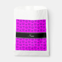 Personalized name neon pink hearts and paw prints favor bag