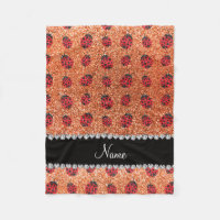 Personalized name pastel orange glitter ladybug fleece blanket