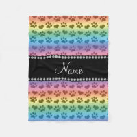 Personalized name rainbow hearts and paw prints fleece blanket