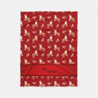 Personalized name red Welsh corgi pembroke dogs Fleece Blanket
