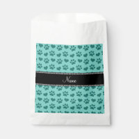 Personalized name seafoam green hearts and paws favor bag