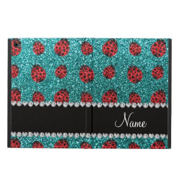 Personalized name turquoise glitter ladybug powis iPad air 2 case
