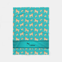 Personalized name turquoise Pug dogs Fleece Blanket
