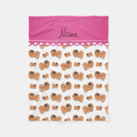 Personalized name white Pekingese dogs Fleece Blanket