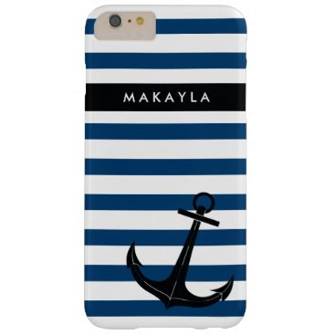 Personalized Navy Chevron with Black Anchor Barely There iPhone 6 Plus Case